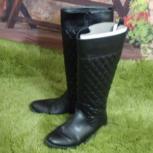 Bass Black Quilted Equestrian Riding Boots